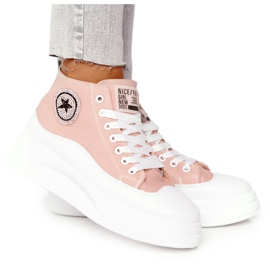 Women's High Sneakers On The Platform Pink Nice Girl white