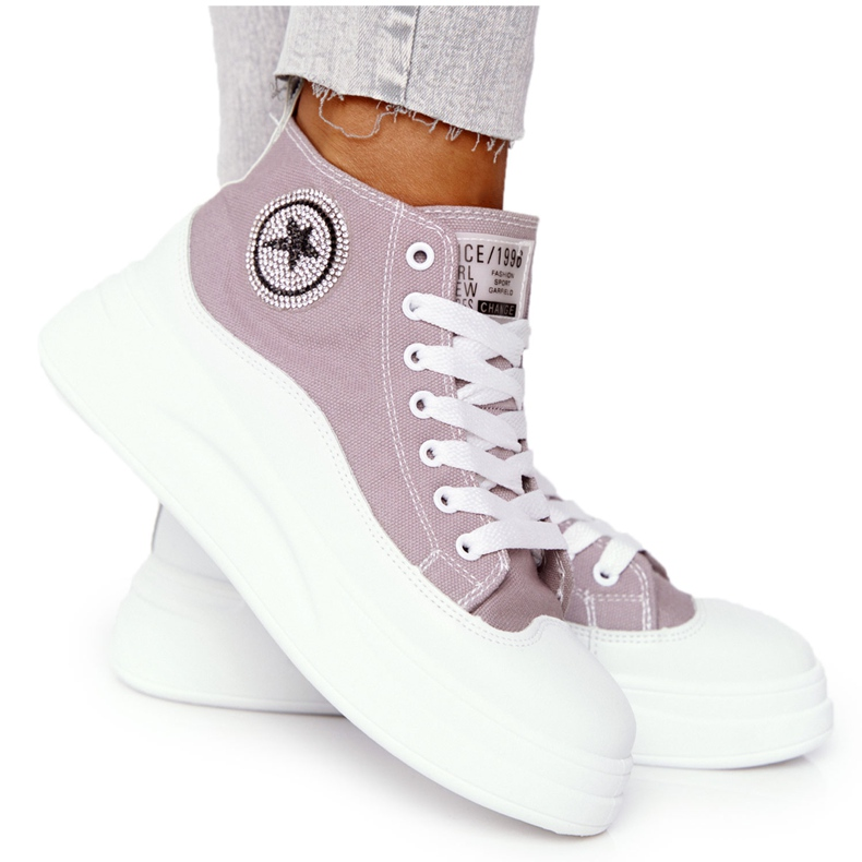 Women's High Sneakers On The Gray Platform Nice Girl white grey