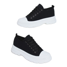 Black women's sneakers (white sole) LA122 Black