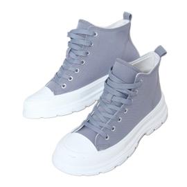 Gray women's sneakers LA123 blue grey