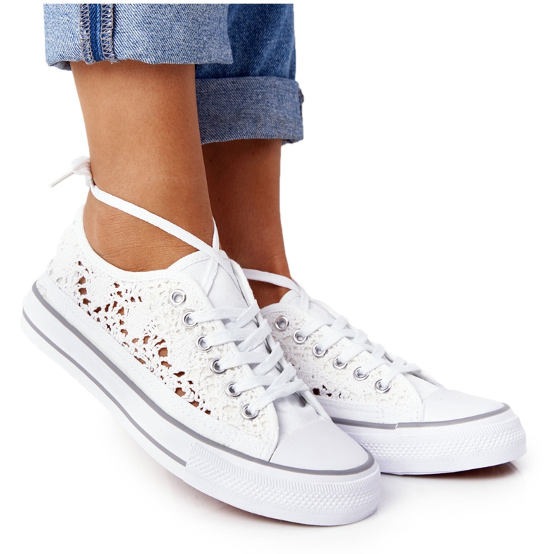FB2 Women's White Lace Candice Sneakers