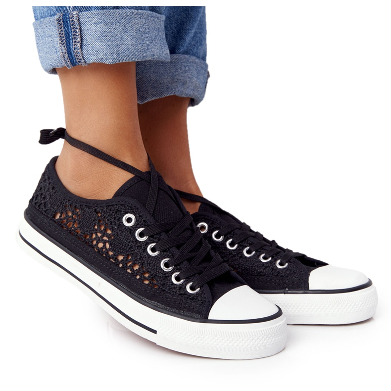 FB2 Women's Black Lace Candice Sneakers