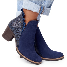 Women's Leather Boots On A Heel Maciejka Navy Blue 04833-17
