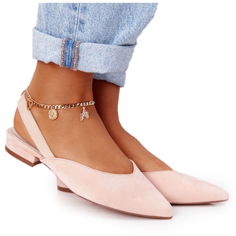 S.Barski Suede Ballerinas On High Heels S. Barski Pink