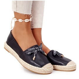S.Barski Black S. Barski Espadrilles On Straw Sole