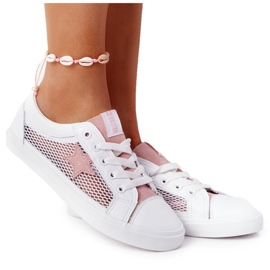 Women's Sneakers With Mesh Big Star DD274688 White-Pink