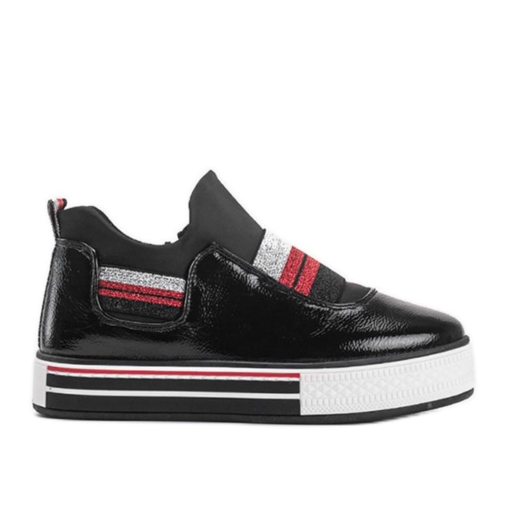 Black lacquered sneakers from Kaitlynn