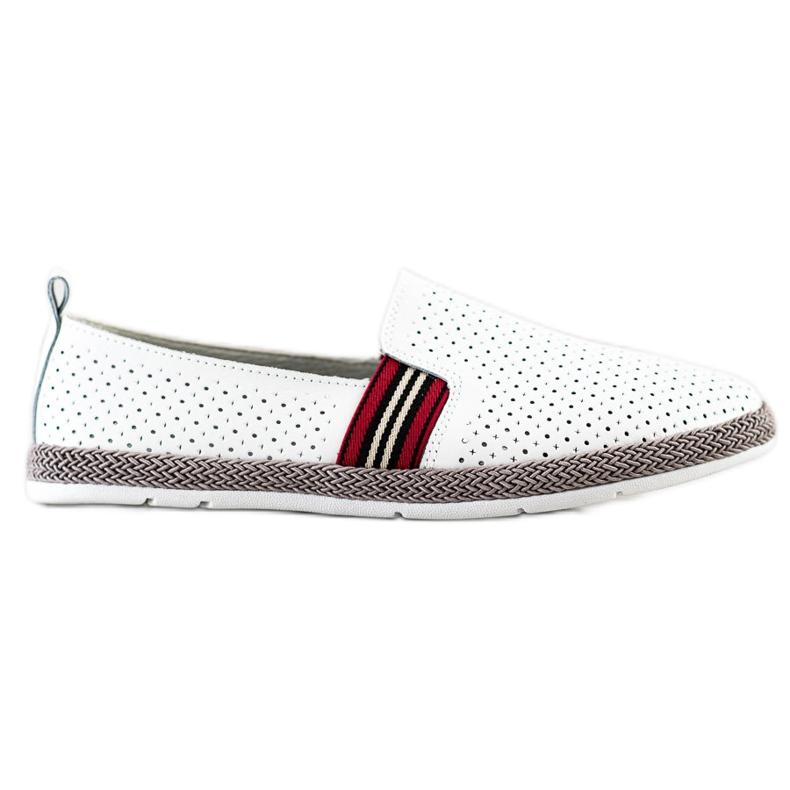 Filippo White Leather Slipons
