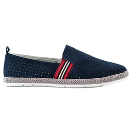 Filippo Navy Leather Slipons navy blue blue