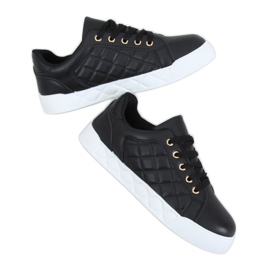 Black quilted women's sneakers BL232P Black
