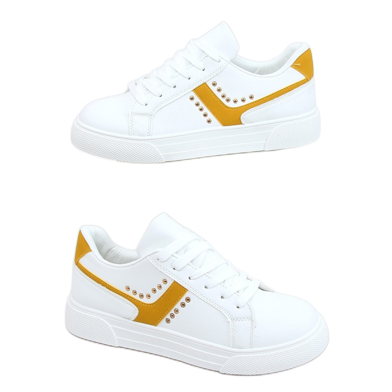 White women's sneakers 1063 Yellow