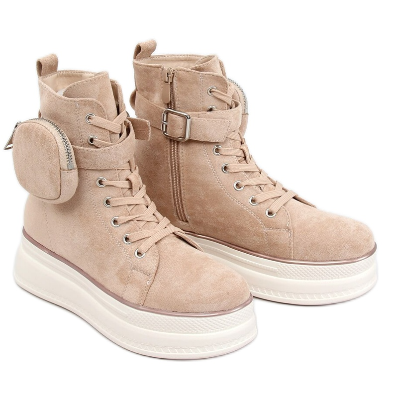 High-top sneakers with a pouch beige HO263 Beige