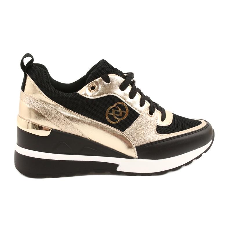 Evento Women's Wedge Sneakers 21PB35-4001 Black Gold Roxette golden