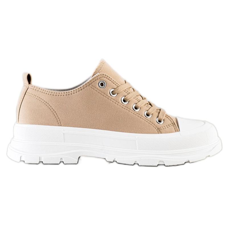 SHELOVET Beige Sneakers On The Platform