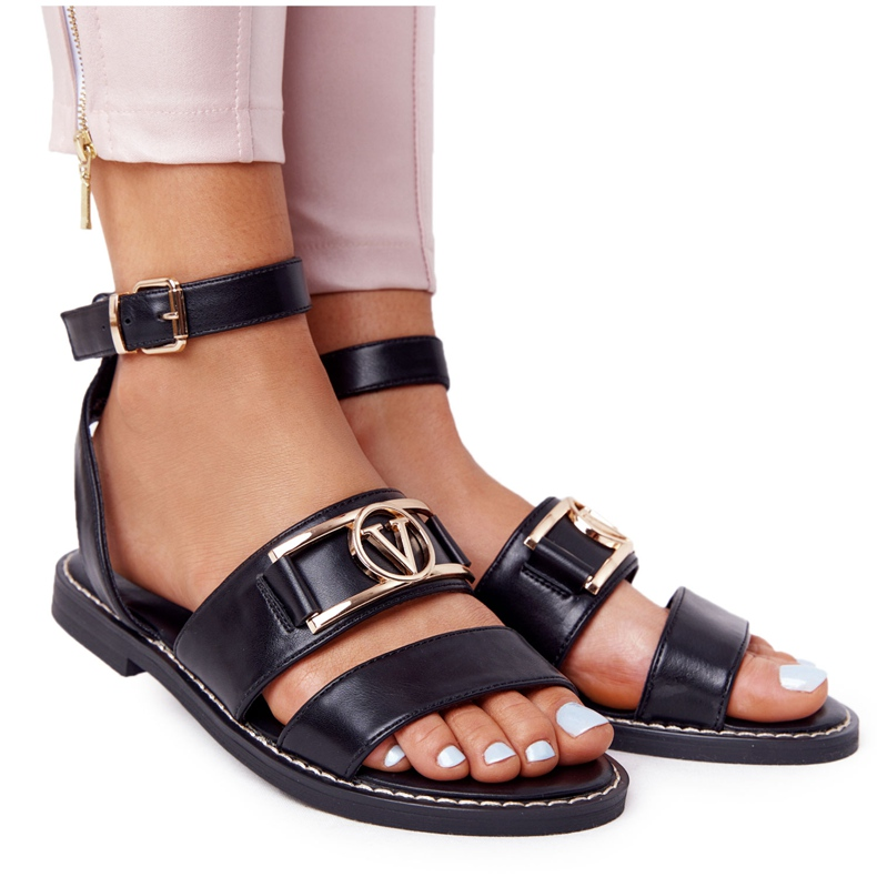 PS1 On Time Black Flat Leather Sandals
