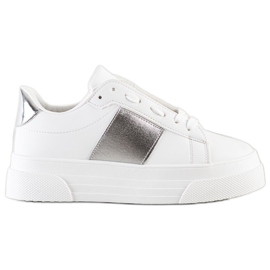 SHELOVET Sneakers With Eco Leather On The Platform white