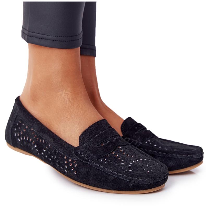 S.Barski Women's Suede Openwork Loafers from S. Bararski Black