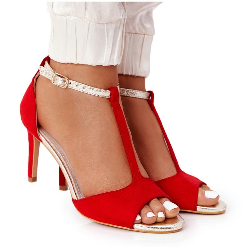 S.Barski Sandals On Szpilce S. Bararski 280-58 Red-Gold golden