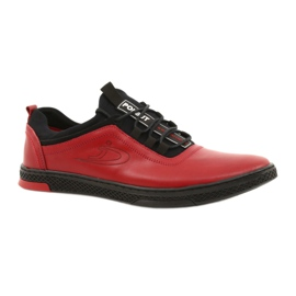 Polbut Red men's leather casual shoes K24 with black underside