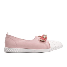 Pink loafers with Deanna pearls