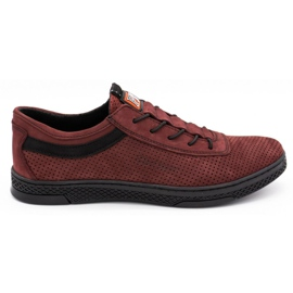Polbut Men's leather casual shoes K23P burgundy red
