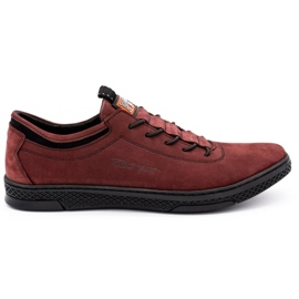 Polbut Men's leather casual shoes K23 burgundy red