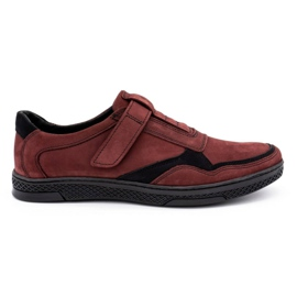 Polbut Men's casual leather shoes 2102 claret red