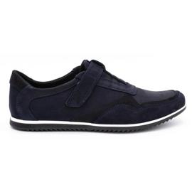 Polbut Men's casual leather shoes 2102/2 navy blue