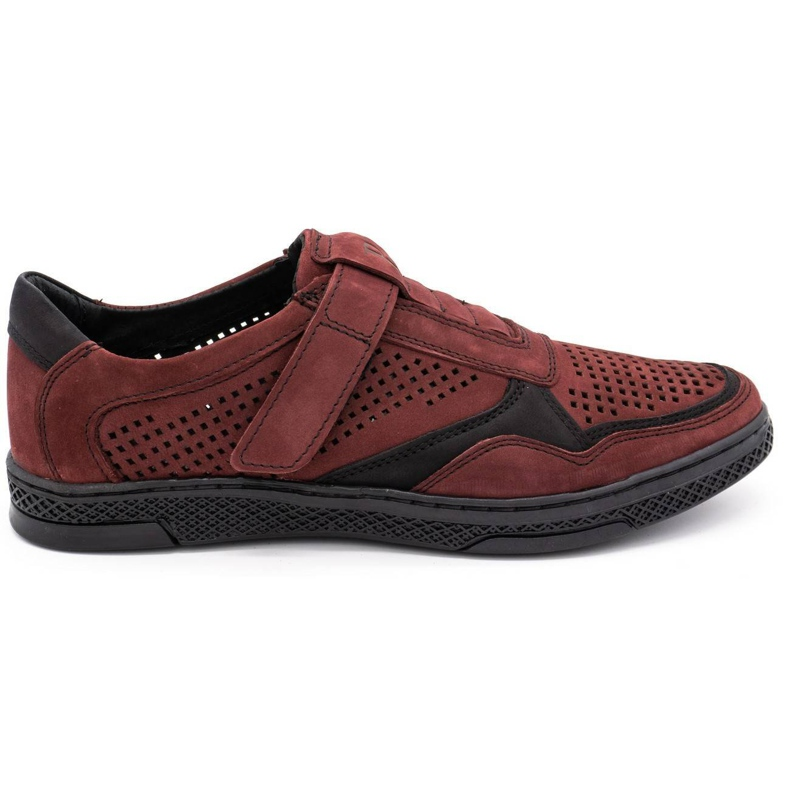 Polbut Men's casual leather shoes 2102L burgundy red