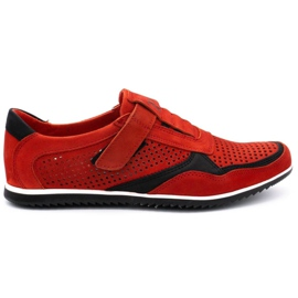 Polbut Men's casual leather shoes 2102 / 2L red