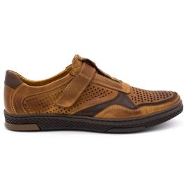 Polbut Men's casual leather shoes 2102L camel brown