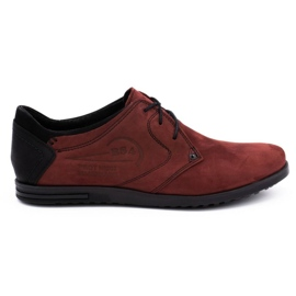 Polbut Men's leather shoes 2103 burgundy red