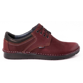 Kampol Men's casual shoes 11/34 burgundy red