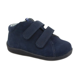 Mazurek Leather Shoes With Velcro Navy Blue 264