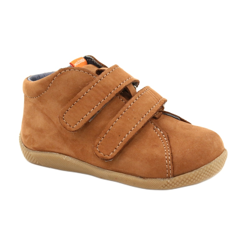 Mazurek Leather Shoes With Velcro Brown 264