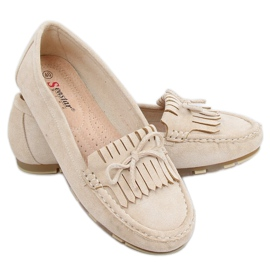 Women's beige loafers GS11P Beige