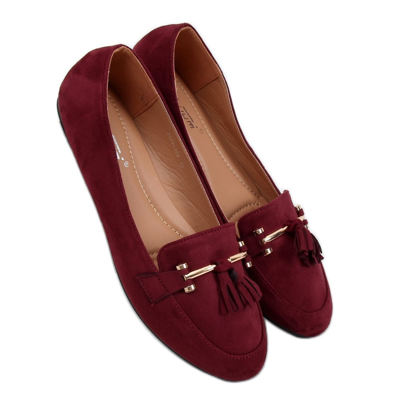 Women's burgundy loafers 9988-159 Wine red
