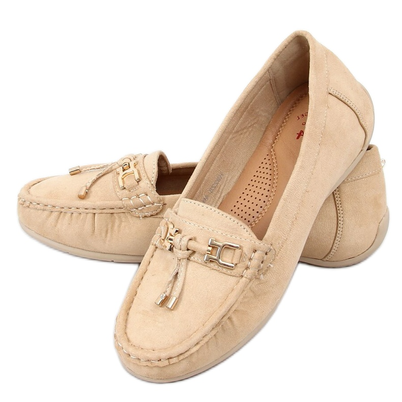 Women's beige loafers on a platform, beige H9228 Beis