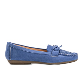 Blue moccasins with an openwork Maura pattern