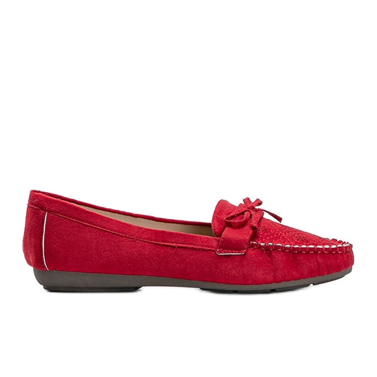 Red moccasins with an openwork Maura pattern