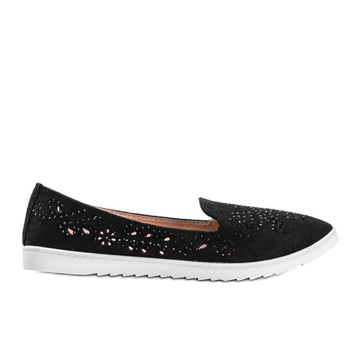 Black openwork loafers with Brianna cubic zirconia