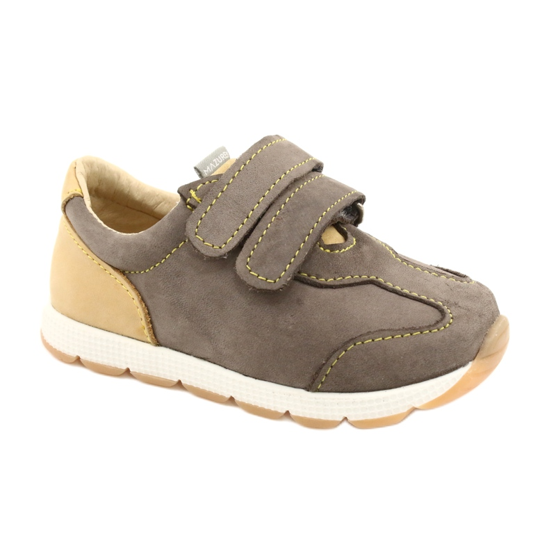 Leather Boys Casual Shoes Mazurek 1362 Velcro brown yellow