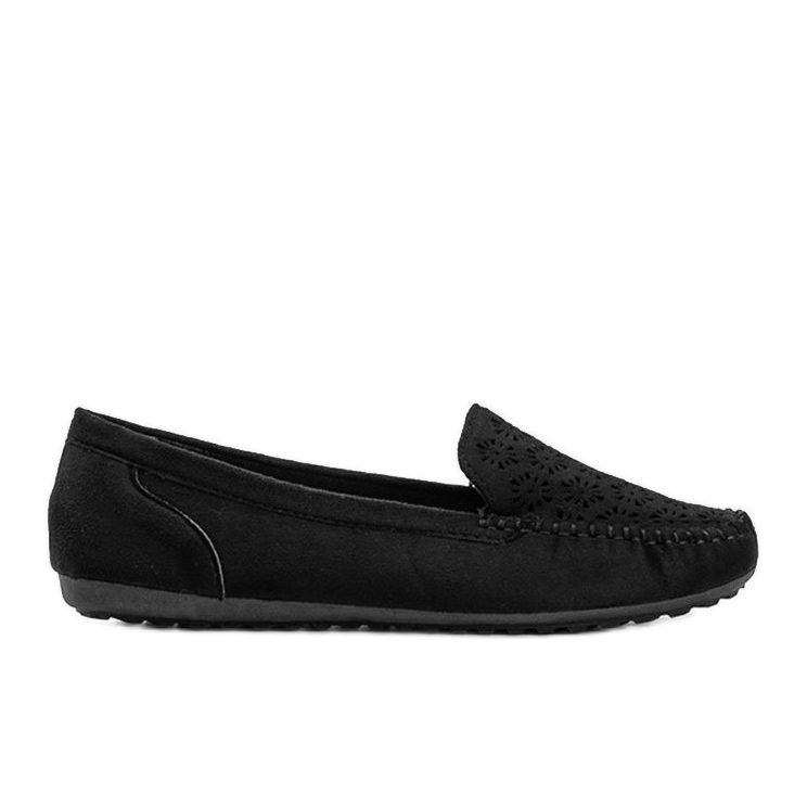 Black moccasins with openwork toe Frida