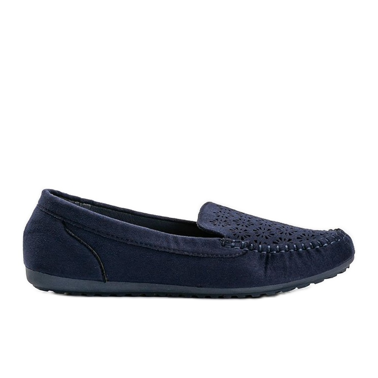 Navy blue loafers with an openwork toe Frida