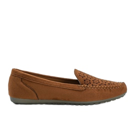 Brown moccasins with an openwork toe Frida