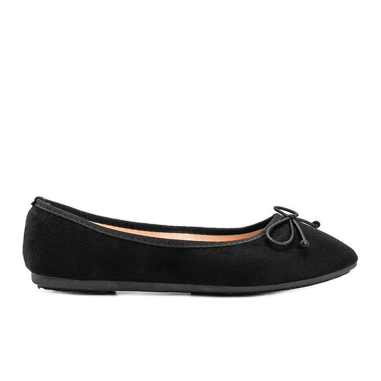 Black suede ballerinas with Aiyana bow