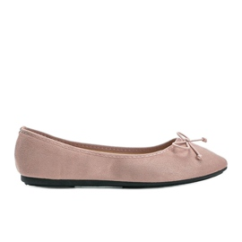 Pink suede ballerinas with Aiyana bow