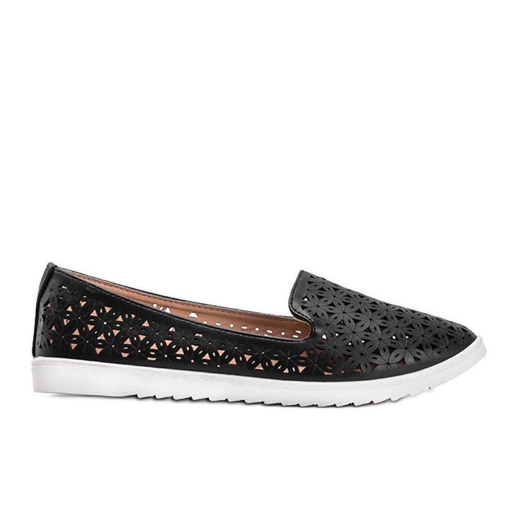 Black loafers with an openwork Margari finish