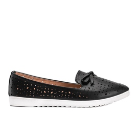 Black loafers with Madalyne openwork trim