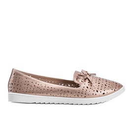 Champagne moccasins with Madalyne openwork finish pink
